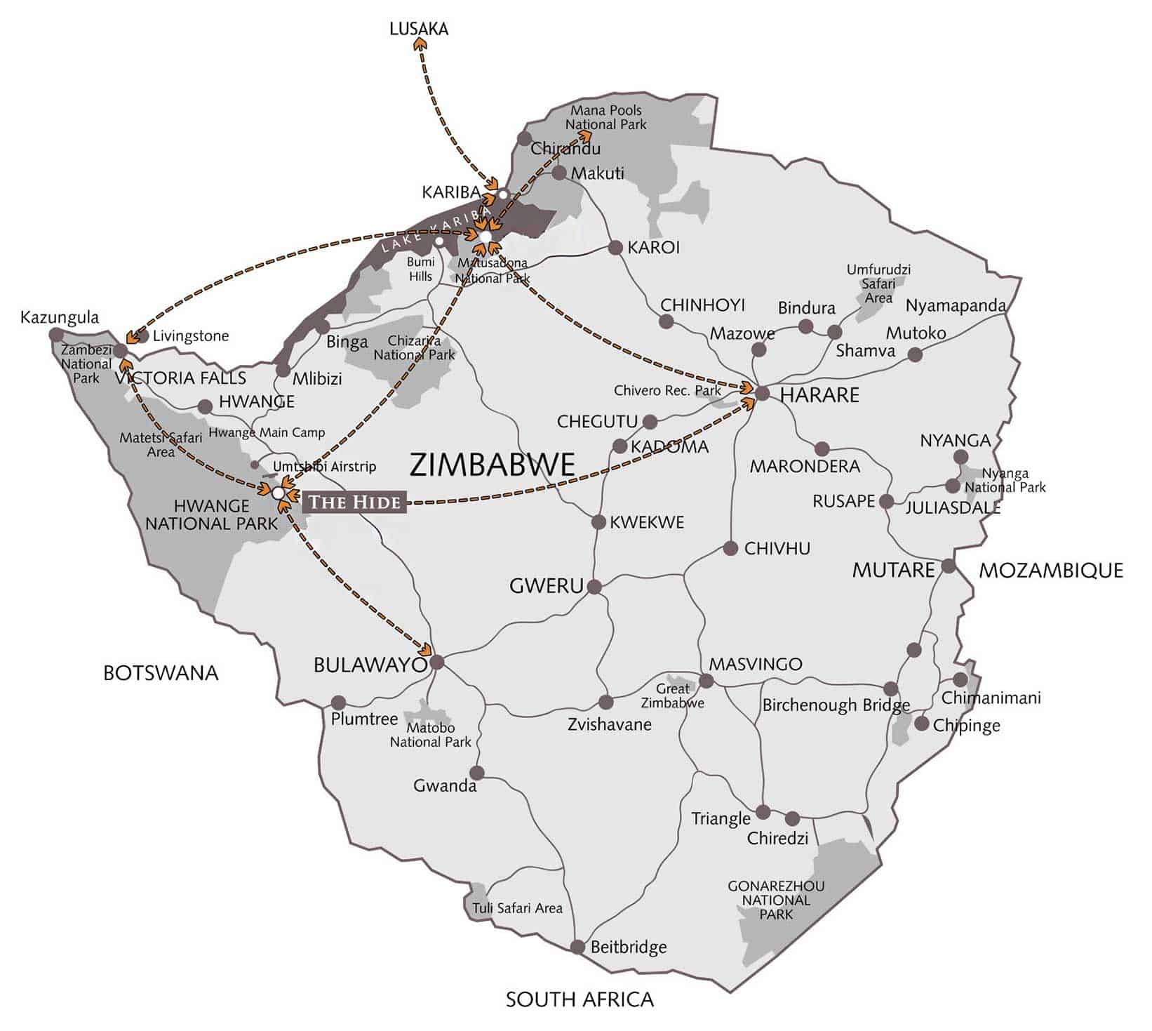 The Hide Map Hwange National Park