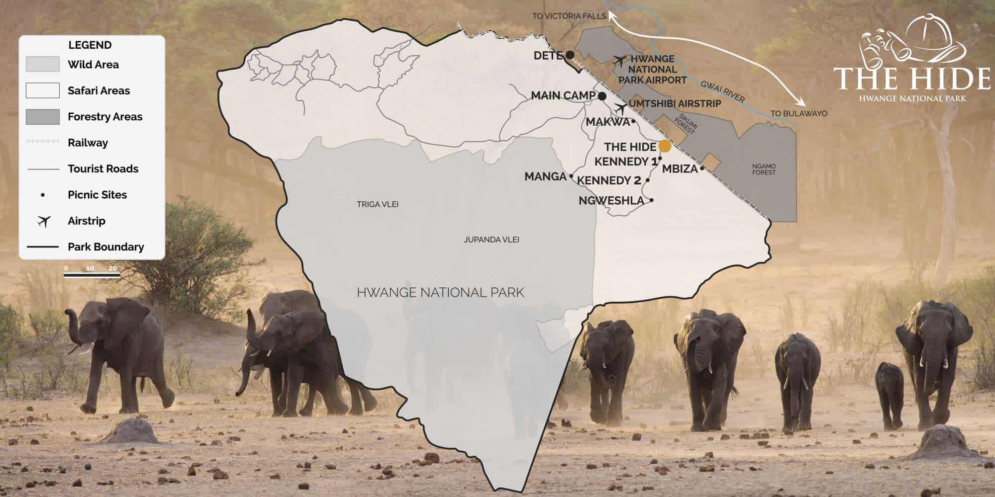 Hwange National Park Map The Hide